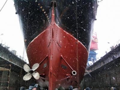 Kruzenshtern im Dock Februar 2011 (Kaliningrad)